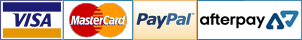 Payment by Visa, Mastercard, PayPal and After Pay